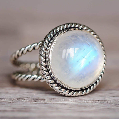 Silver Double Twist Moonstone Ring - Indie and Harper. Bohemian Gypsy Festival Jewellery. www.indieandharper.com