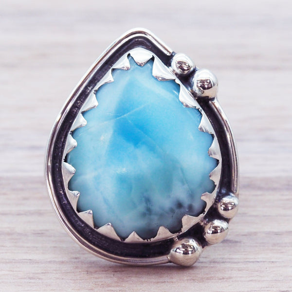 Larimar Rain Drop Ring - Women's Jewellery - Indie and Harper
