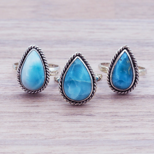 Larimar Tear Drop Twist Ring - Women's Jewellery - Indie and Harper