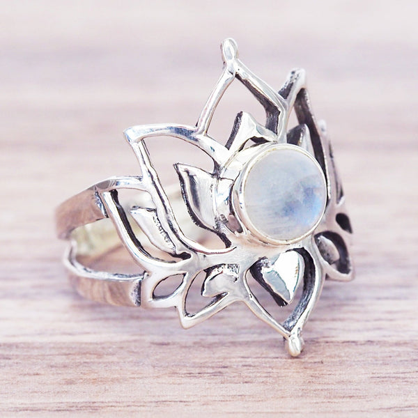 Lotus Moonstone ring - Women's Jewellery - Indie and Harper