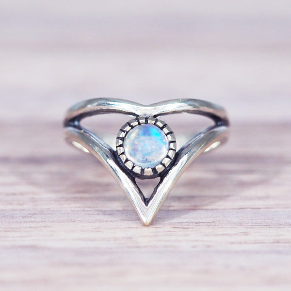 Moonstone Chevron Ring - Women's Jewellery - Indie and Harper