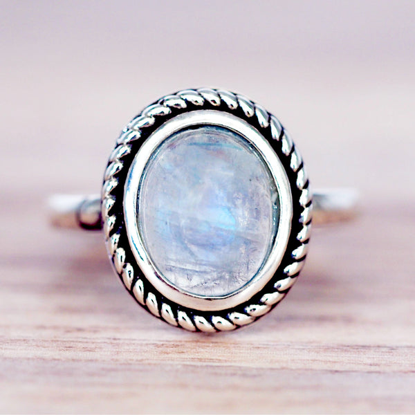 Moonstone Classic Twist Ring - Women's Jewellery - Indie and Harper
