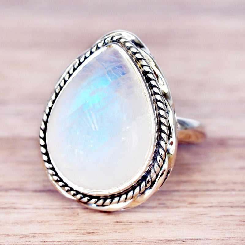 Moonstone Rain Drop Double Twist Ring - Women's Jewellery - Indie and Harper