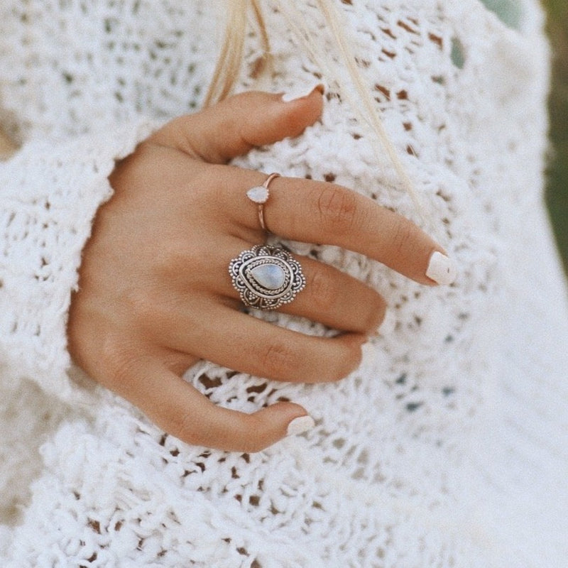Moonstone Blossom Ring. Bohemian Jewellery. Indie and Harper