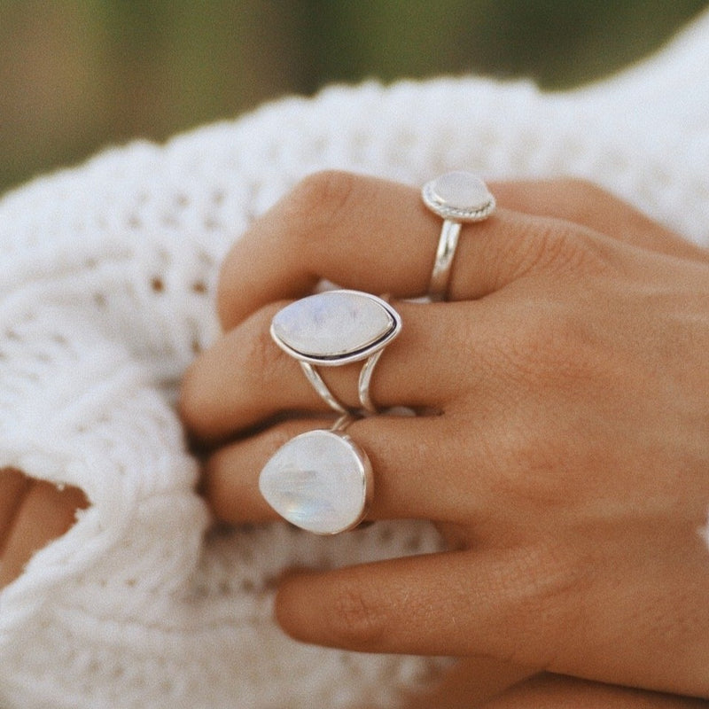 Moonstone Double Band Ring. Bohemian Jewellery. Indie and Harper