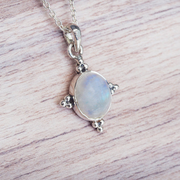 Moonstone Four Points Necklace. Bohemian Jewellery. Indie and Harper