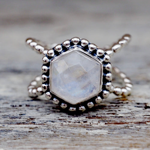Hexagon Moonstone Ring - Indie and Harper. Bohemian Gypsy Festival Jewellery. www.indieandharper.com