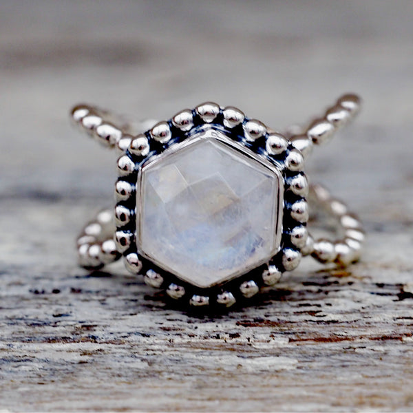 Hexagon Moonstone Ring. Bohemian Jewellery. Indie and Harper
