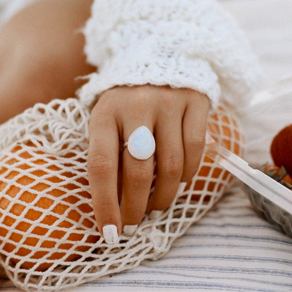Moonstone Rain Drop Ring - Women's Jewellery - Indie and Harper
