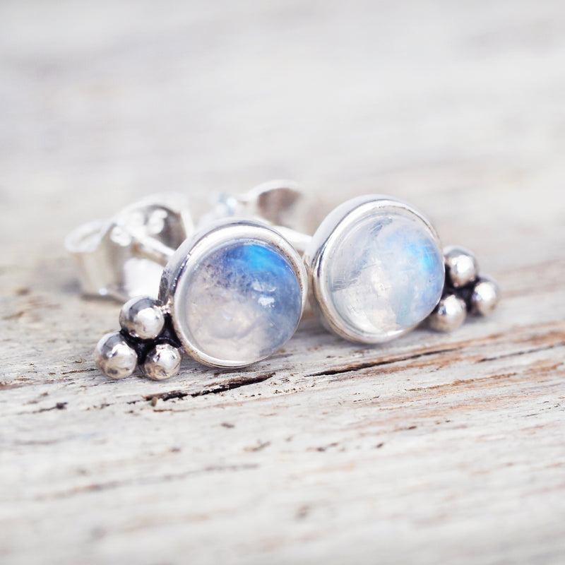 Moonstone Stud Earrings. Bohemian Jewellery. Indie and Harper
