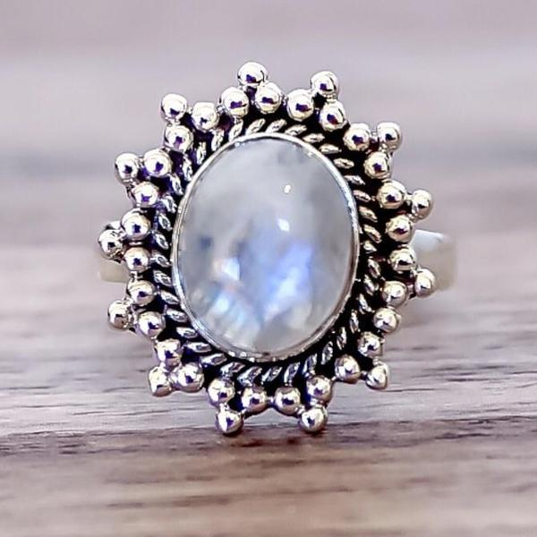 Moonstone Sun Ring. Bohemian Jewellery. Indie and Harper