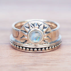 Moonstone Sun Rise Ring. Bohemian Jewellery. Indie and Harper