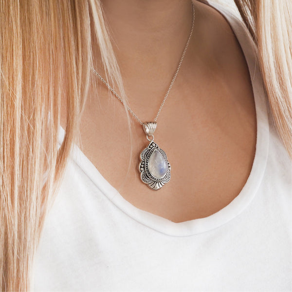 Moonstone Wild Flower Necklace. Bohemian Jewellery. Indie and Harper