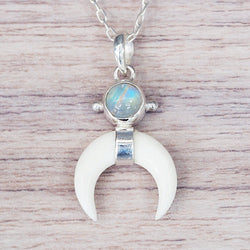 Moonstone and Bone Pendant - Women's Jewellery - Indie and Harper