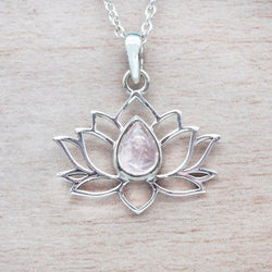 Morganite Lotus Necklace. Bohemian Jewellery. Indie and Harper