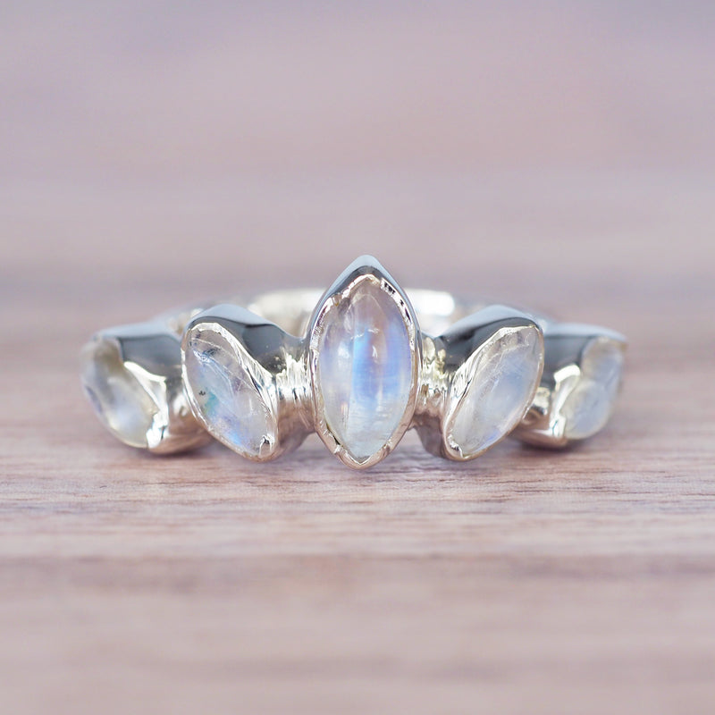 Multi Moonstone Ring. Bohemian Jewellery. Indie and Harper