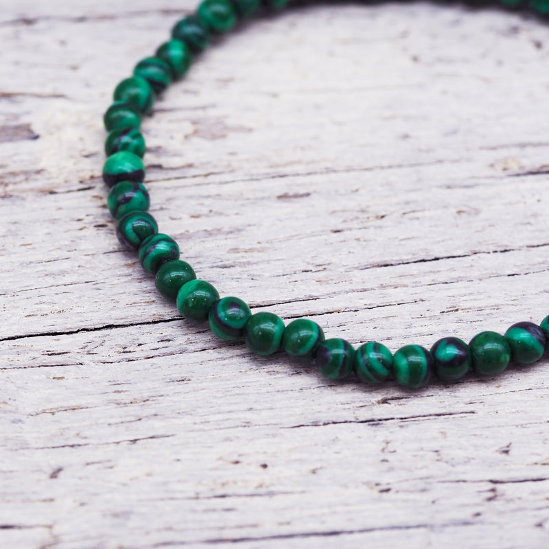 Natural Beaded Bracelet - Malachite. Women's Jewellery. Indie and Harper