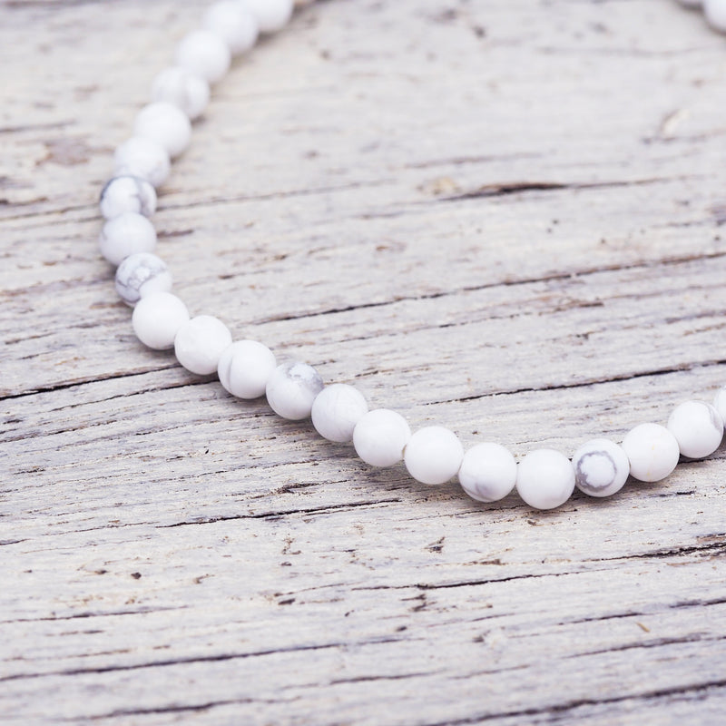 Natural Beaded Bracelet - White Howlite. Women's Jewellery. Indie and Harper