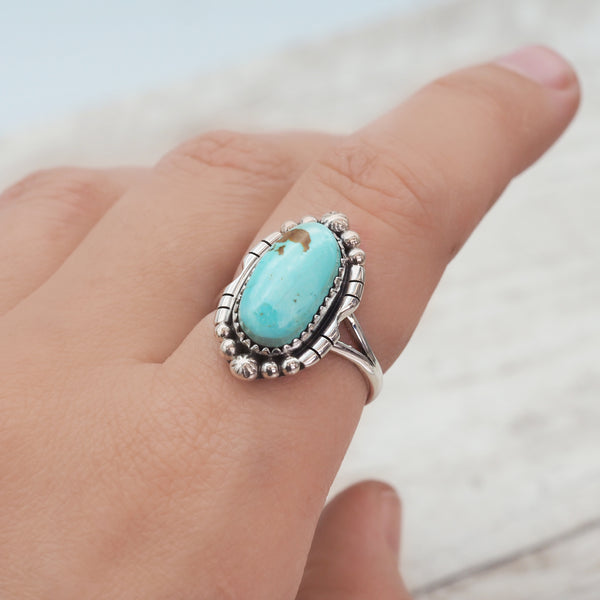 Navajo Detailed Turquoise Ring - Women's Jewellery - Indie and Harper