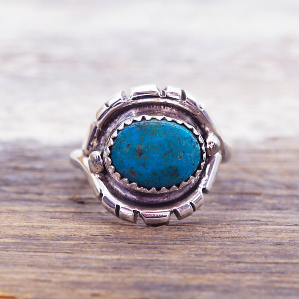 Navajo Hand Carved Raw Turquoise Ring - Women's Jewellery - Indie and Harper