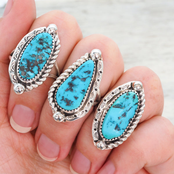 Navajo Oval Turquoise Ring - Women's Jewellery - Indie and Harper