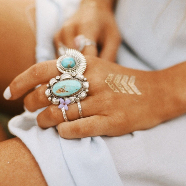 Navajo Turquoise Flower Ring. Bohemian Jewellery. Indie and Harper