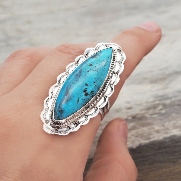 Navajo Turquoise Statement Ring - Women's Jewellery - Indie and Harper