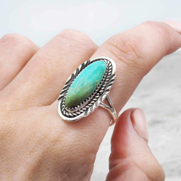 Navajo Detailed Oval Turquoise Ring - Indie and Harper. Bohemian Gypsy Festival Jewellery. www.indieandharper.com