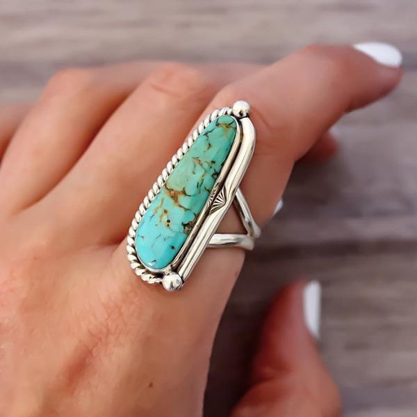 Navajo Half Twist Turquoise Ring. Bohemian Jewellery. Indie and Harper