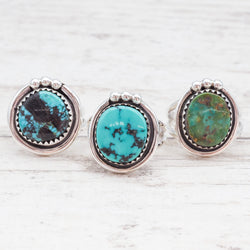Navajo Round Turquoise Ring. Bohemian Jewellery. Indie and Harper