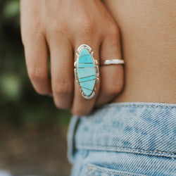 Navajo Silver Detailed Turquoise Ring - Women's Jewellery - Indie and Harper