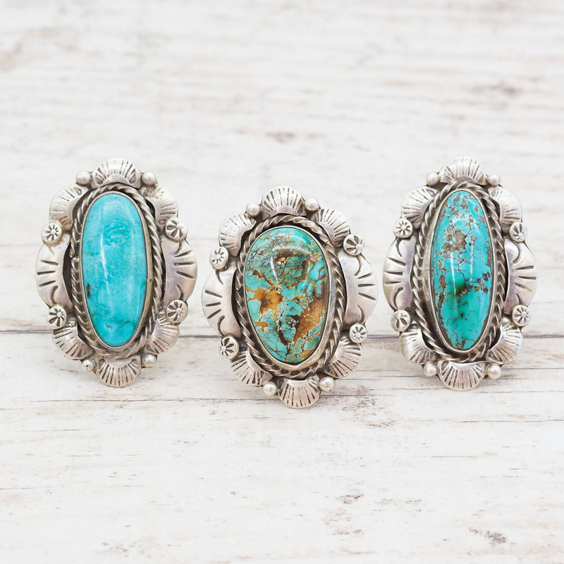 Navajo Turquoise Flower Ring - Indie and Harper. Bohemian Gypsy Festival Jewellery. www.indieandharper.com