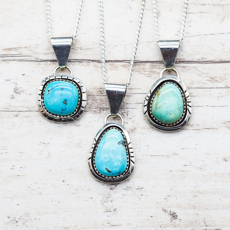 Navajo Turquoise Pendant Necklace. Bohemian Jewellery. Indie and Harper