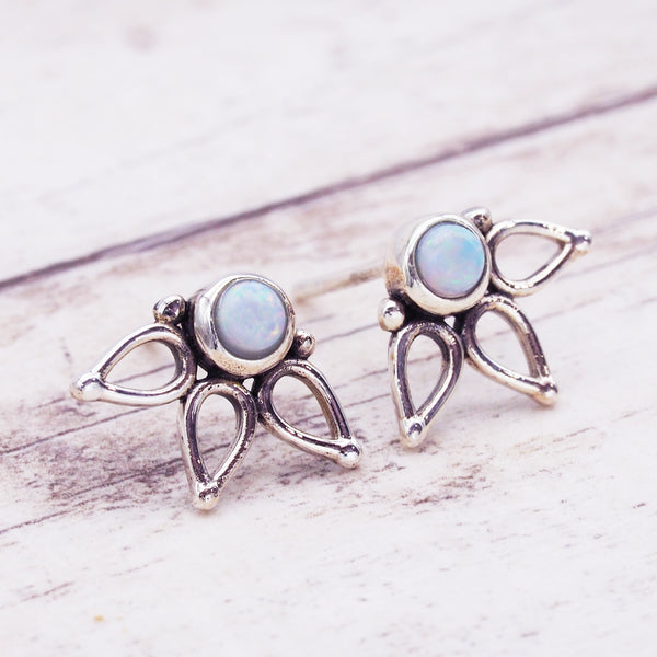 Opal Lotus Earrings - Women's Jewellery - Indie and Harper