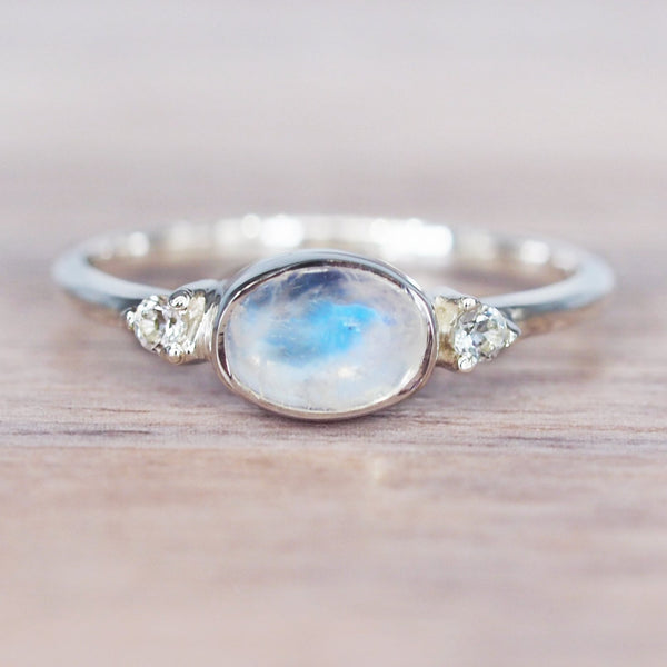 Oval Moonstone and Topaz Ring. Bohemian Jewellery. Indie and Harper