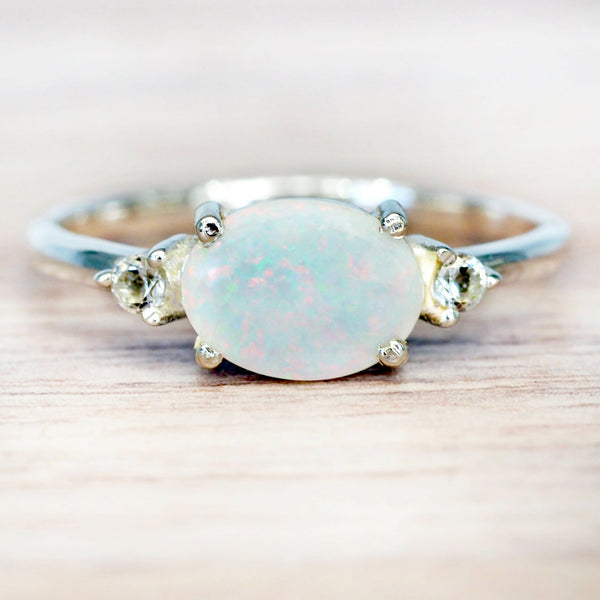 Oval Opal and Topaz Ring. Bohemian Jewellery. Indie and Harper