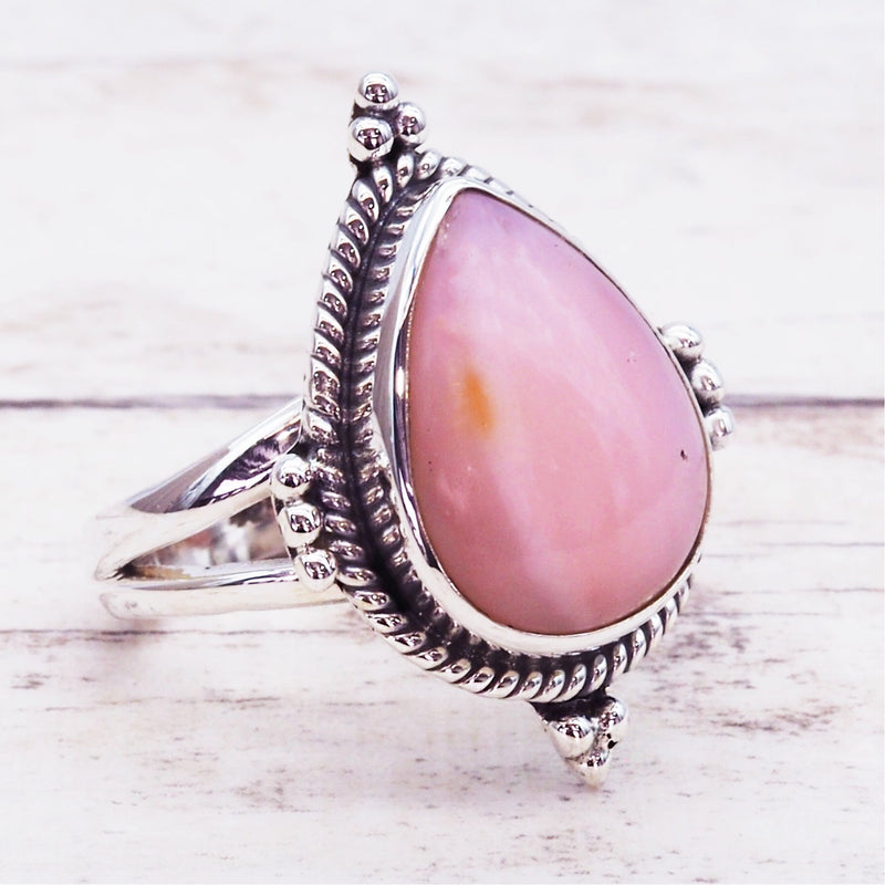 Pink Opal Rain Drop Ring - Women's Jewellery - Indie and Harper