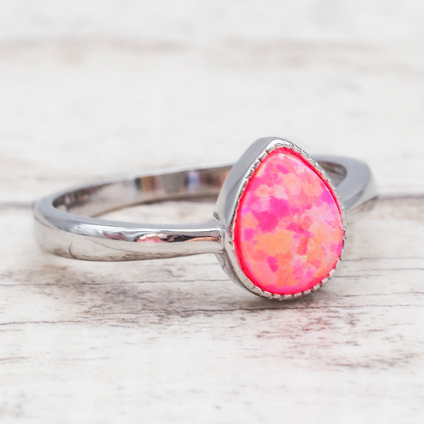 Pink Opal Rain Drop Ring. Bohemian Jewellery. Indie and Harper