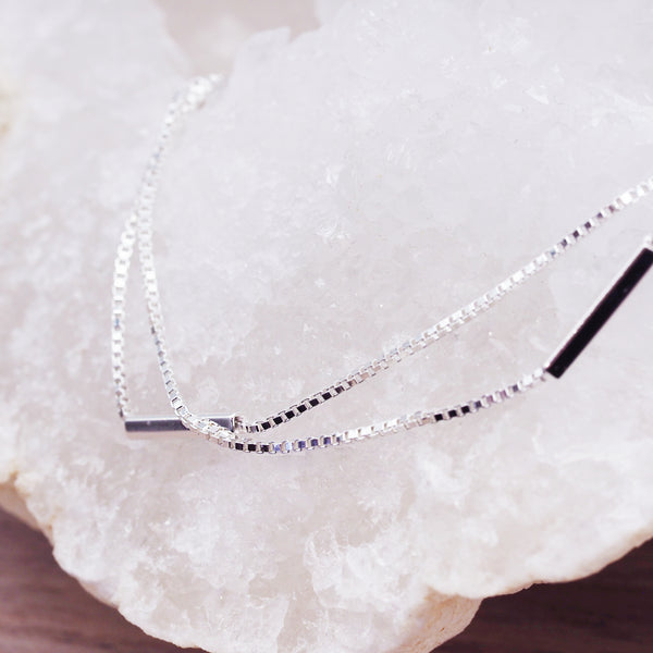 Platinum Plated Silver Bar Anklet - Women's Jewellery - Indie and Harper