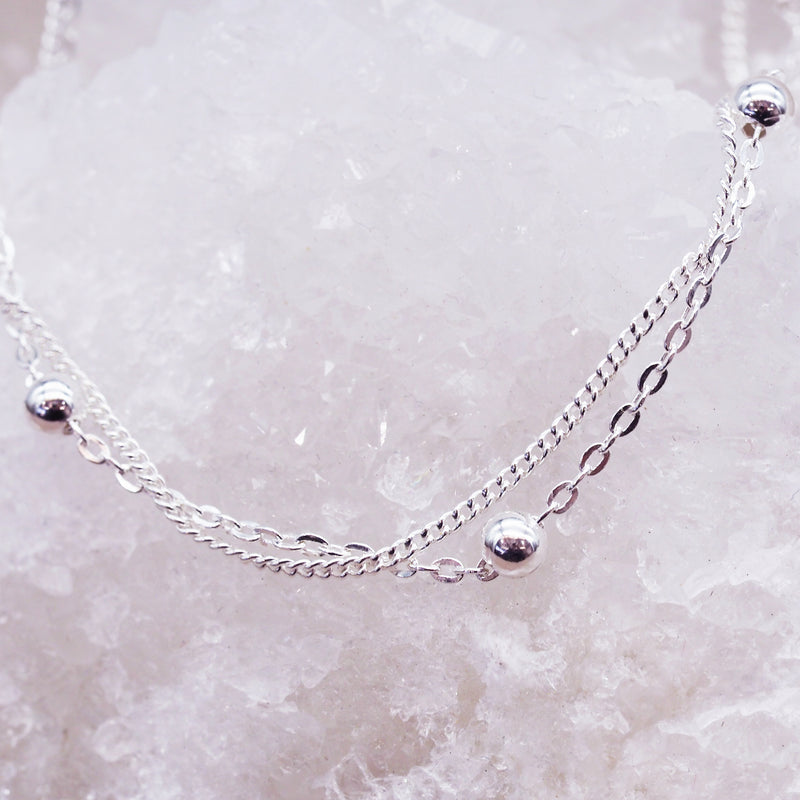 Platinum Plated Silver Beaded Bracelet - Women's Jewellery - Indie and Harper