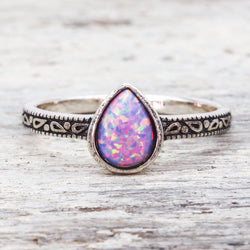 Purple Tear Drop Opal Ring. Bohemian Jewellery. Indie and Harper