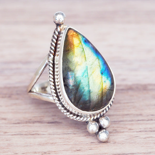 Rain Drop Labradorite Ring - Women's Jewellery - Indie and Harper