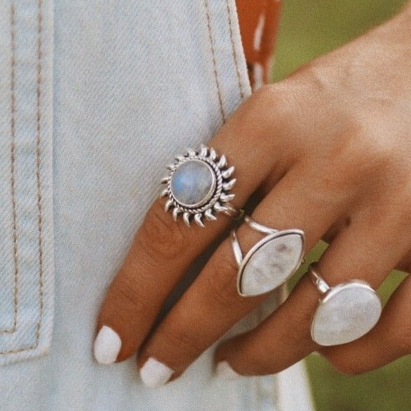 Rainbow Moonstone Sun Ring. Bohemian Jewellery. Indie and Harper