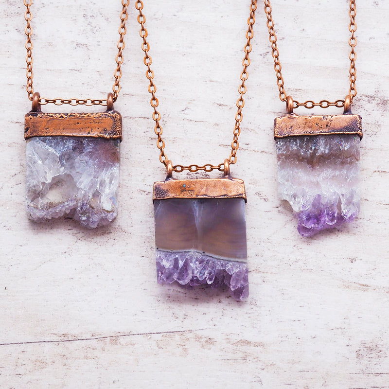 Raw Amethyst Crystal and Copper Necklace. Women's Jewellery. Indie and Harper
