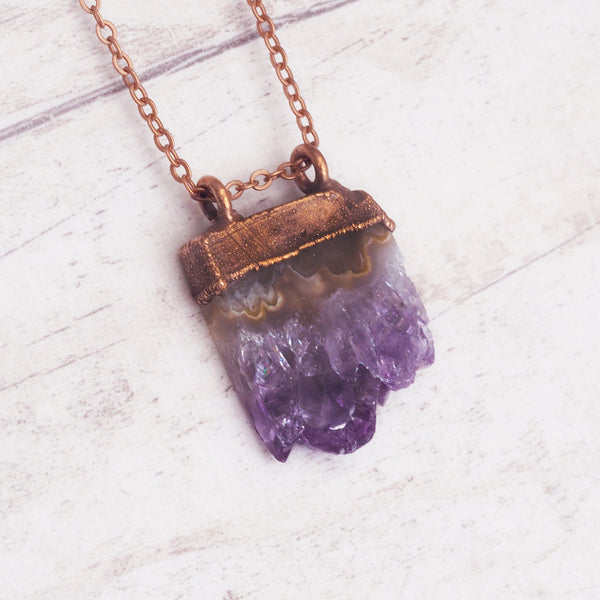 Raw Amethyst Crystal and Copper Necklace. Bohemian Jewellery. Indie and Harper