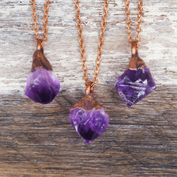 Raw Amethyst and Copper Necklace. Bohemian Jewellery. Indie and Harper
