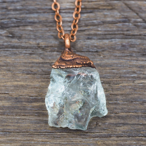 Raw Aquamarine and Copper Necklace | Bohemian Gypsy Festival Jewellery | Indie and Harper