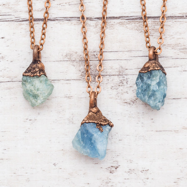 Raw Aquamarine and Copper Necklace. Bohemian Jewellery. Indie and Harper