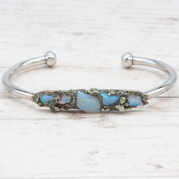 Raw Australian Opal and Pyrite Cuff. Bohemian Jewellery. Indie and Harper