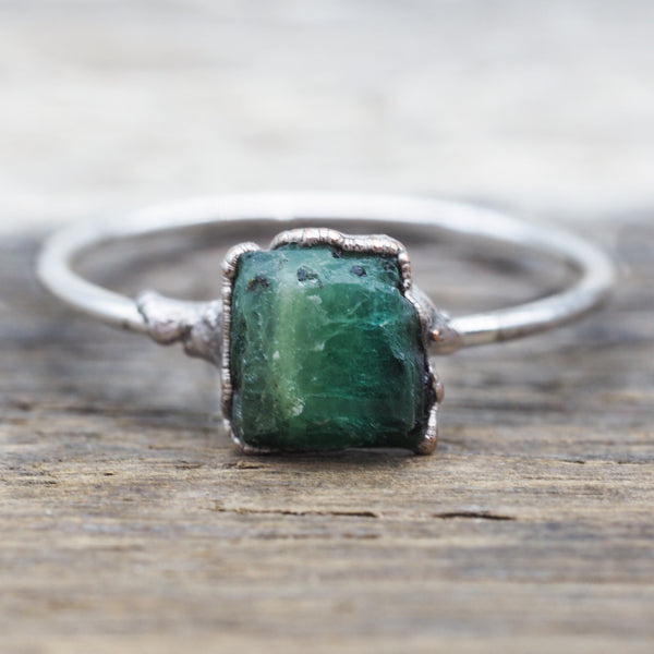 Raw Emerald Ring. Bohemian Jewellery. Indie and Harper